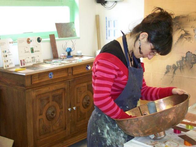 Réalisation d'une vasque - Muriel Carcagno - émail