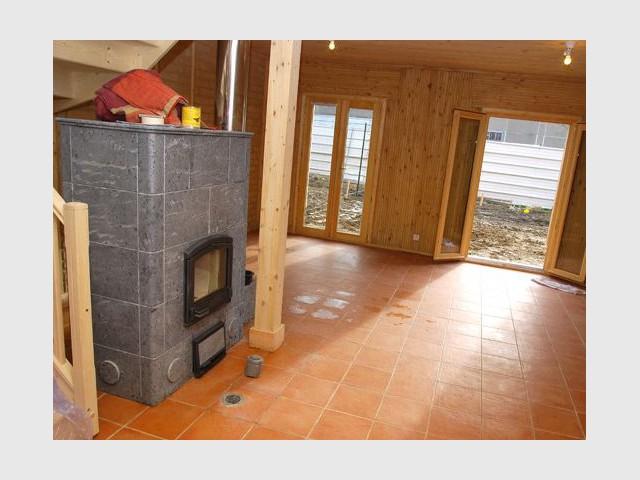 Salle principale - Maison écologique en bois