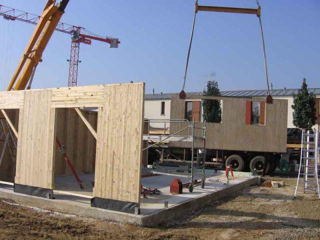 Montage des murs - Maison écologique en bois