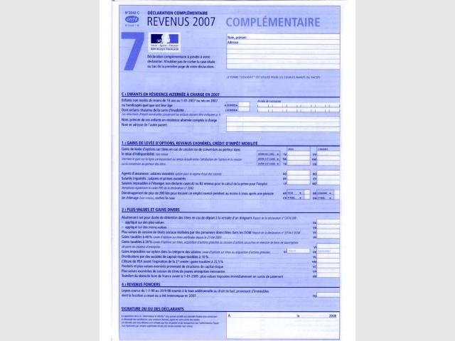 fiscalité déclaration revenus complémentaire