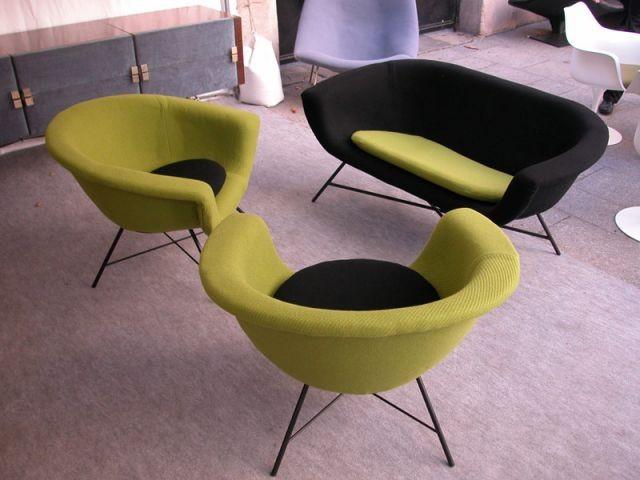 Fauteuils verts et noirs - Puces du Design