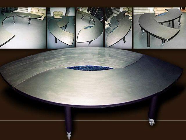 Table basse en acier brossé et plaque de verre Wia