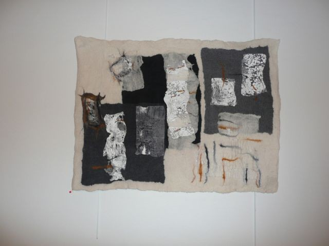 Tableau en feutre et tyvex - Thea de Lange Création textile