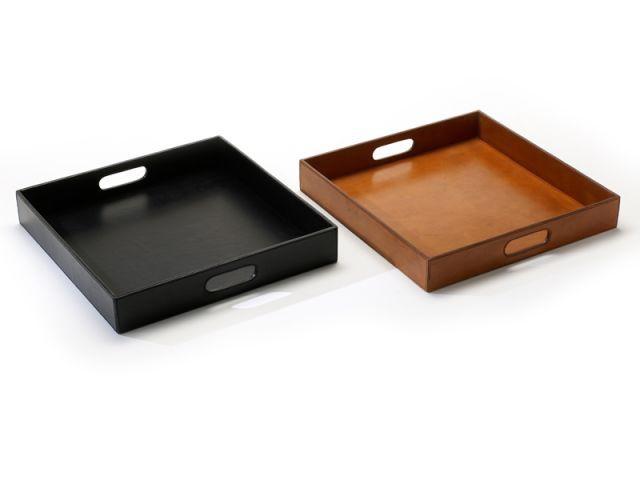 Plateau carré en cuir naturel - Objets en cuir