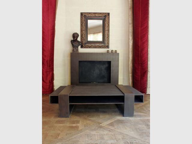cheminee table basse béton