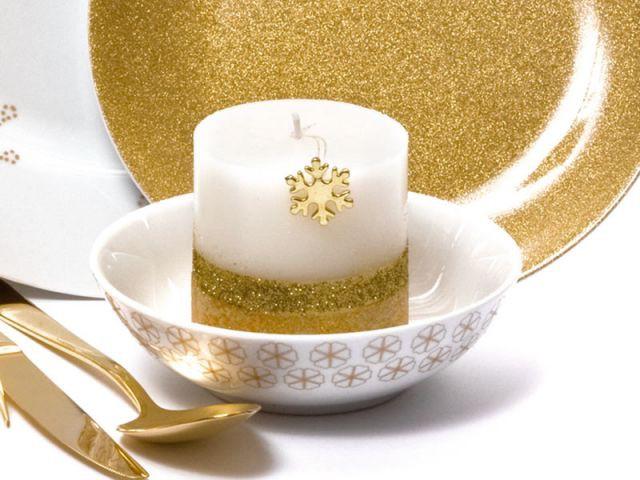 Bougie pailletée - Bougies de Noël