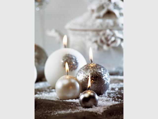 Bougies argentées - Bougies de Noël