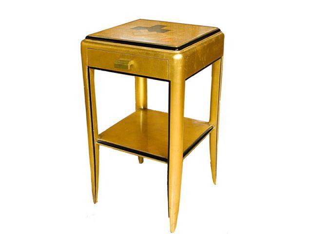 Table de chevet à décor géométrique