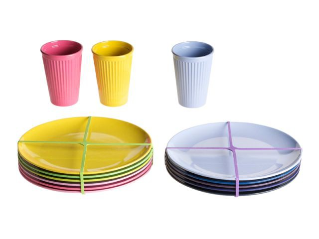 Set de 6 assiettes en bambou