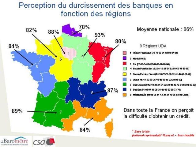 Carte de France du durcissement des banques - Carte de France