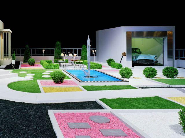 La jardin et la garage - Jacques Tati - Villa Arpel