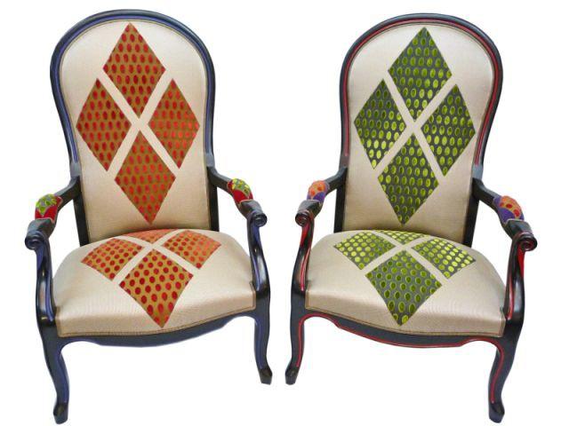 couple de fauteuils Voltaire signé Edwinka