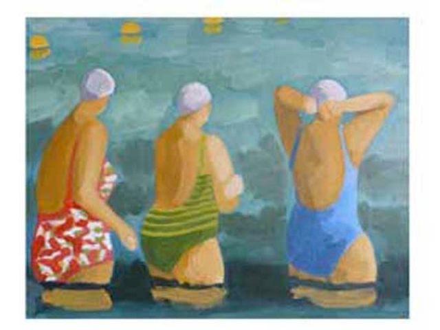 Trois baigneuses à la mer - la plage selon Dorothée Ponroy
