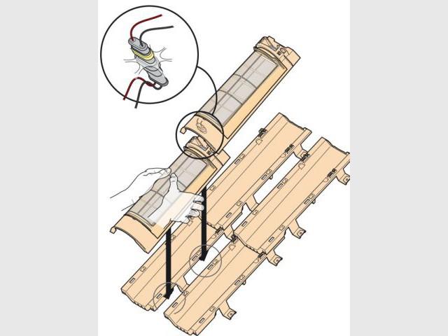 Schéma de fixation d'une tuile solaire - tuiles solaires TechTile