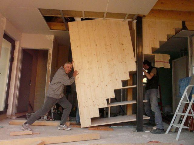 Mise en place escalier - Reportage auto-construction