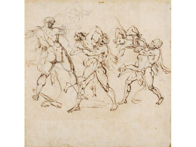 Trois études d'Hercule et Antée
