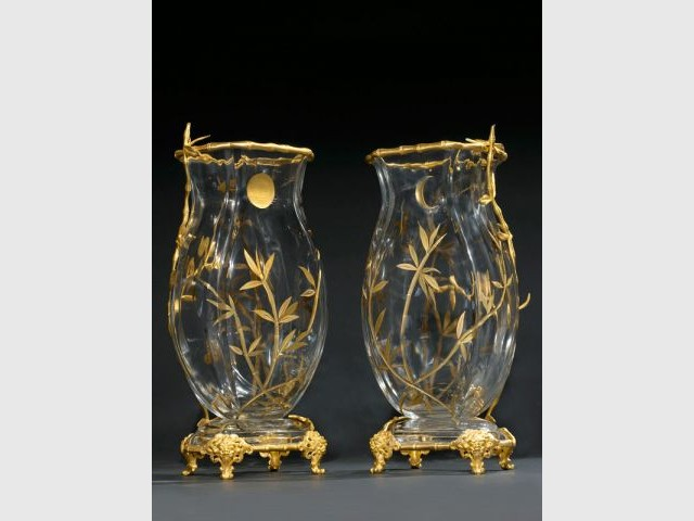 Paire de vases en cristal de la Maison E. Enot à P