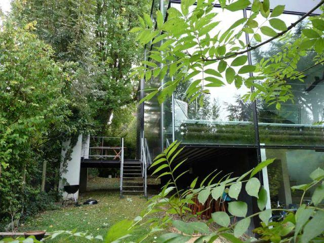 Jardin - Maison d'architecte verre et métal
