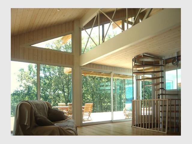 salon mezzanine en bois