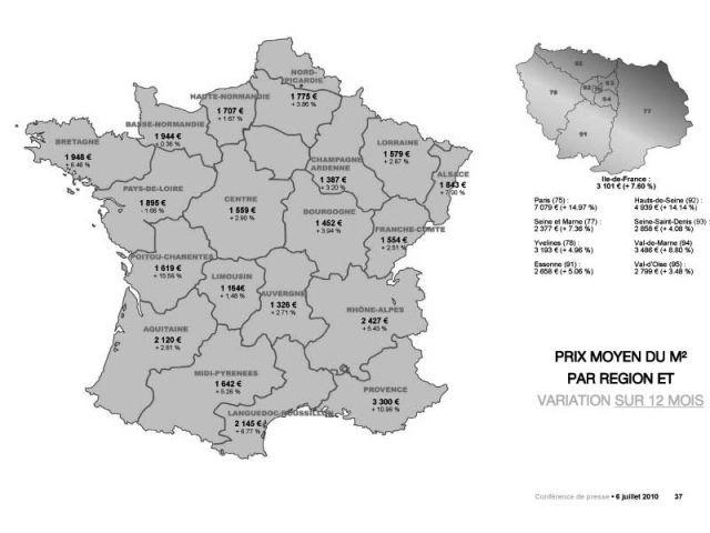 Prix moyen du m2 par région et variation sur 12 mois - Century 21