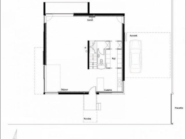 Plan Rez-de-chaussée - maison 10x10