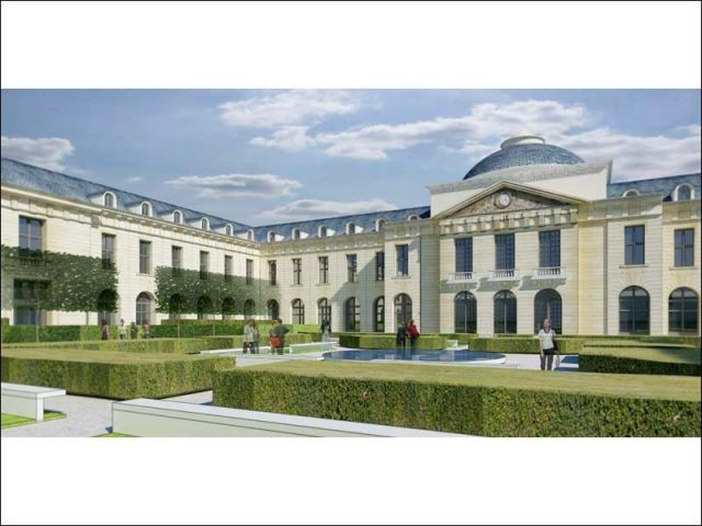 Perspective jardin intérieur - hôpital Royal Richaud Versailles