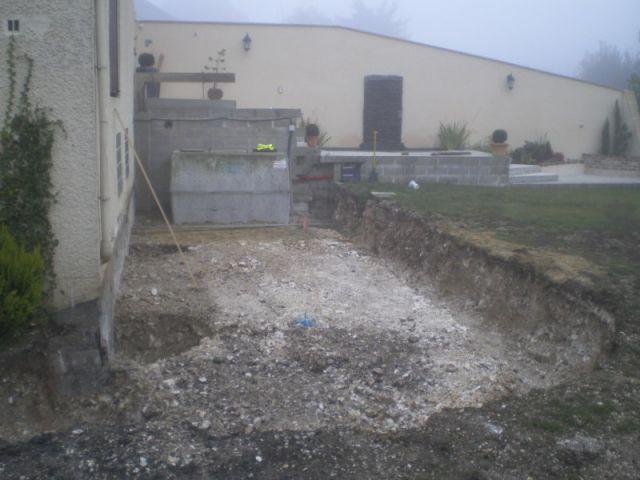 1ère étape : le terrassement - Travaux terrasse