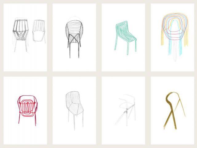 Croquis de chaises - Expo Bouroullec