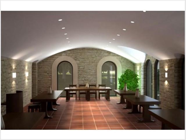 Le réfectoire - vue 3D - Bâtisseur de monastère