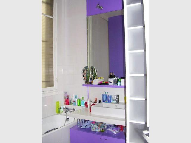 Salle de bains violette - Appartement Asie moderne