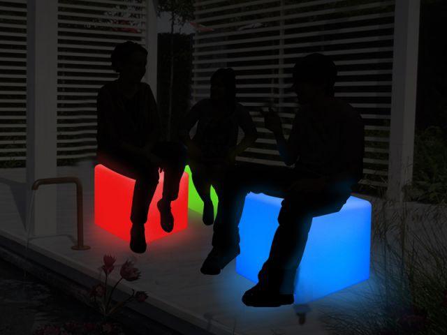 Cube tabouret lumineux - Luminaires jardin