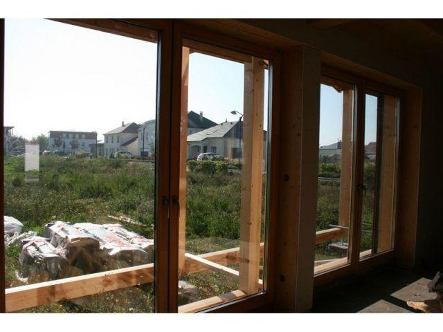 Grandes baies vitrées - maison paille
