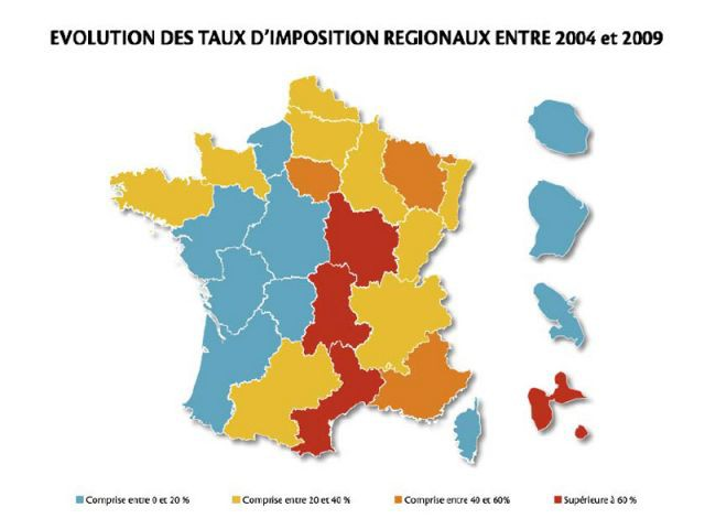 Evolution des taux d'imposition régionaux entre 2004 et 2009 - Unpi