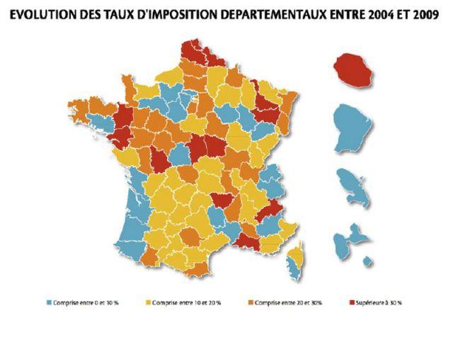 Evolution des taux d'imposition départementaux entre 2004 et 2009 - unpi