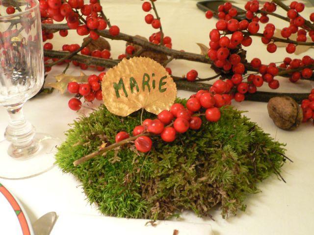 """Marque-place """"Feuille d'or"""" - Déco table Noël"""