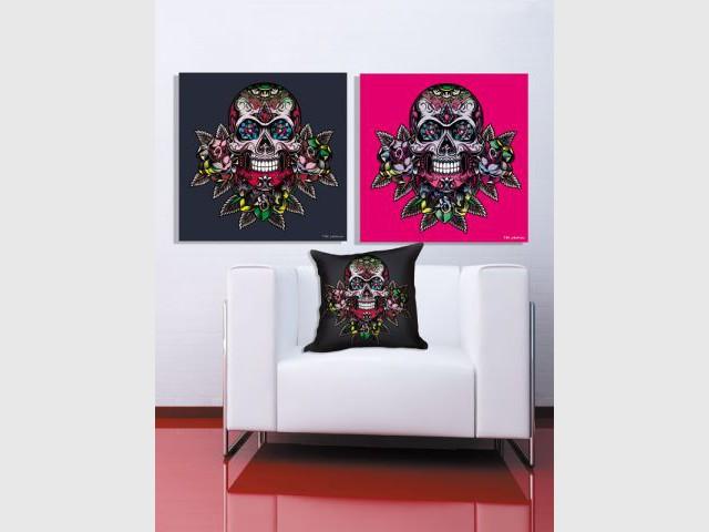 Des coussins et tableaux au motif tête de mort - Coup de coeur Noël 2011