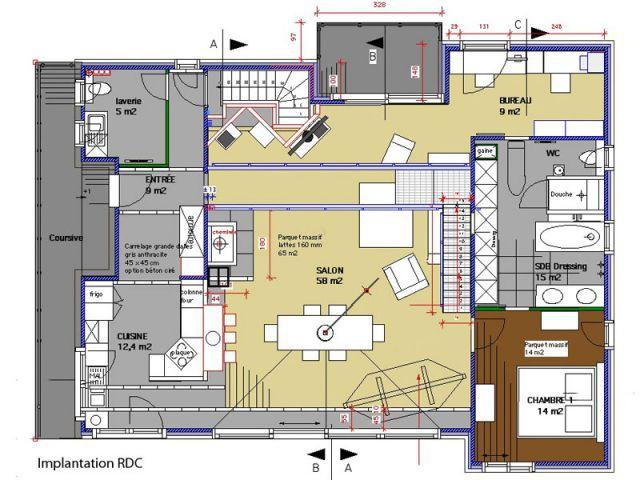 Plan Rez-de-chaussée - Reportage maison bois