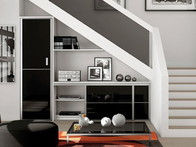 15 id es pour am nager l 39 espace sous l 39 escalier. Black Bedroom Furniture Sets. Home Design Ideas