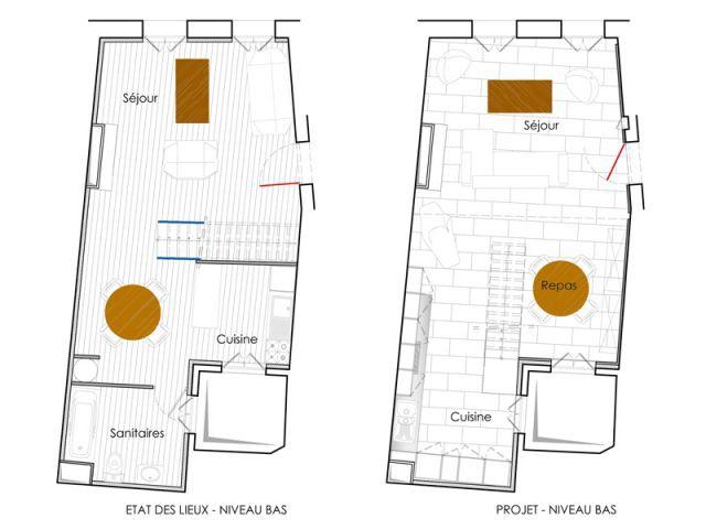 Les plans de l'étage du bas - Reportage duplex Montpellier