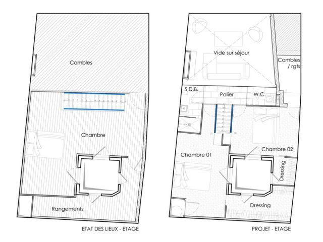 Les plans de l'étage du haut - Reportage duplex Montpellier