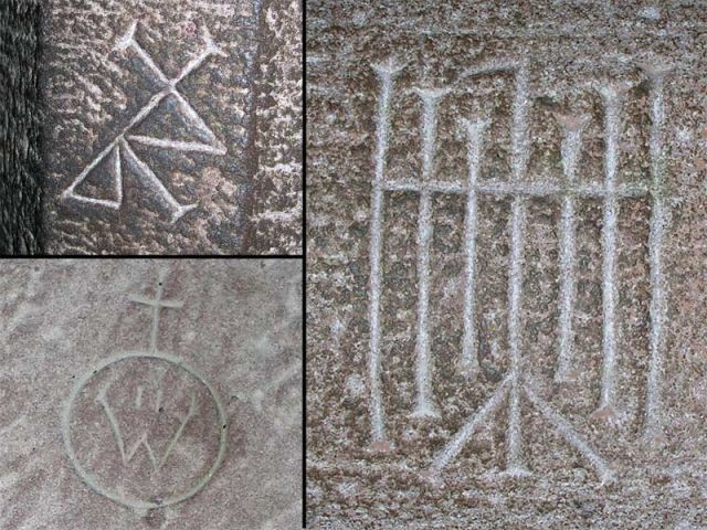 Gravures des emblèmes sur les pierres - Château du Haut Koenigsbourg
