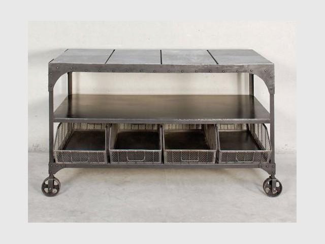 Un comptoir et ses paniers en acier - Sélection industriel