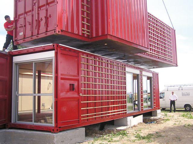 Pose de l'étage - Maison containers