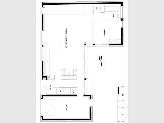 Plan rez-de-chausée - Reportage maison verrière