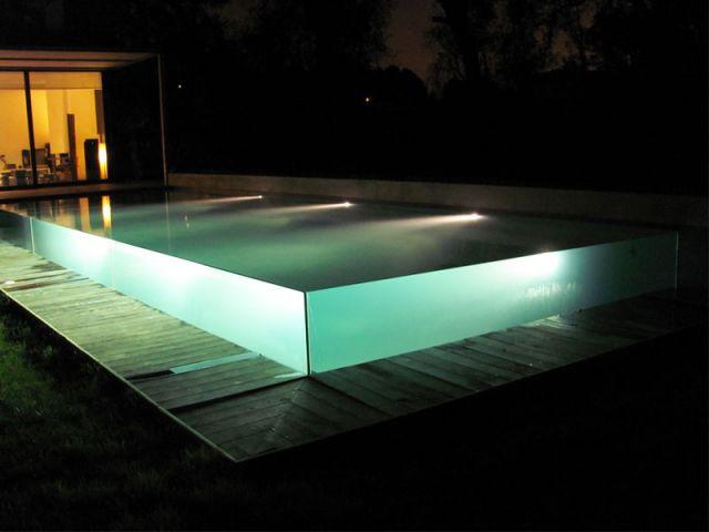 Vue de nuit - Piscine Carré Bleu - Concept Aquaglass
