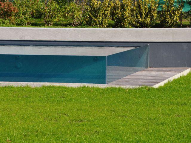 Structure invisible - Piscine Carré Bleu - Concept Aquaglass