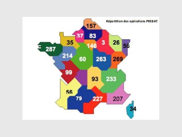 Carte de France des opérations BBC