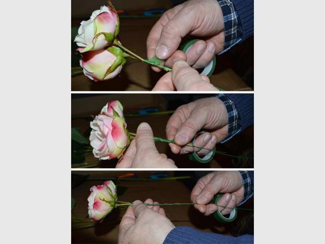 """Couvrir la tige de """"floral tape"""" - Pas à pas fleurs artificielles"""