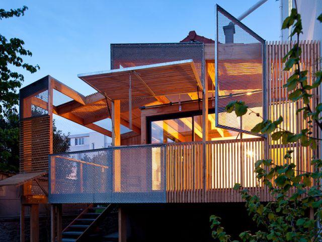 Vue de nuit - Extension bois Nicola Spinetto Architecte