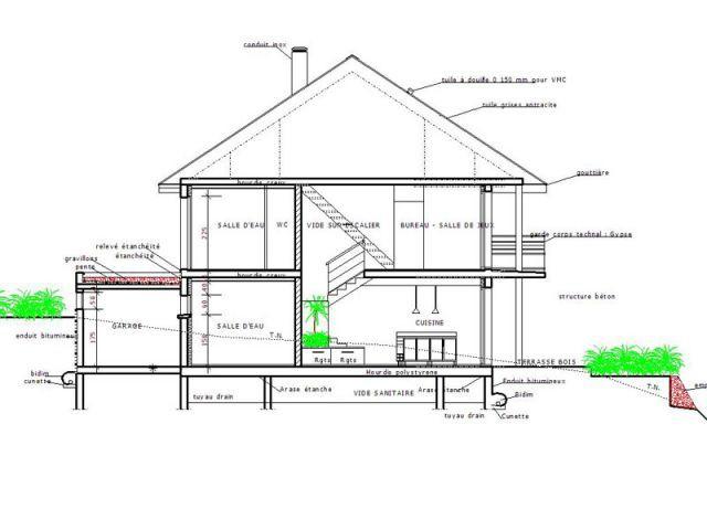 Une imposante maison contemporaine construite en pleine pente - Plan en coupe terrain et construction ...